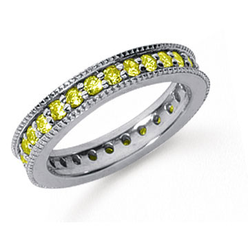 1 Carat Yellow Sapphire Platinum Milgrain Prong Eternity Band