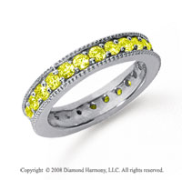 1 1/4 Carat Yellow Sapphire Platinum Milgrain Prong Eternity Band