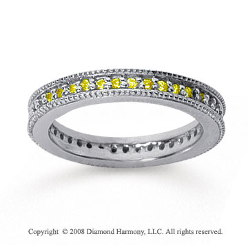 1/2 Carat Yellow Sapphire 14k White Gold Milgrain Prong Eternity Band