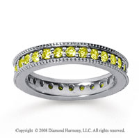 1 Carat Yellow Sapphire 14k White Gold Milgrain Prong Eternity Band