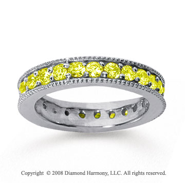 1 1/4 Carat Yellow Sapphire 14k White Gold Milgrain Prong Eternity Band