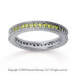 1/2 Carat Yellow Sapphire 18k White Gold Milgrain Prong Eternity Band