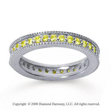 3/4 Carat Yellow Sapphire 18k White Gold Milgrain Prong Eternity Band