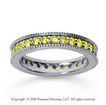 1 Carat Yellow Sapphire 18k White Gold Milgrain Prong Eternity Band