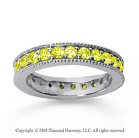 1 1/4 Carat Yellow Sapphire 18k White Gold Milgrain Prong Eternity Band