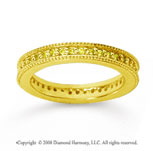 1/2 Carat Yellow Sapphire 14k Yellow Gold Milgrain Prong Eternity Band