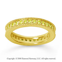 3/4 Carat Yellow Sapphire 14k Yellow Gold Milgrain Prong Eternity Band