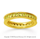 1 Carat Yellow Sapphire 14k Yellow Gold Milgrain Prong Eternity Band