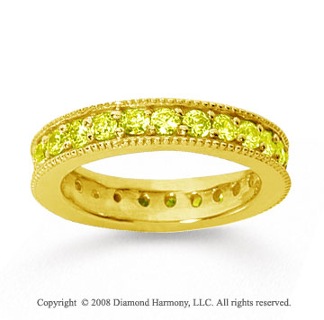 1 1/4 Carat Yellow Sapphire 18k Yellow Gold Milgrain Prong Eternity Band