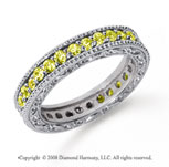 1 Carat Yellow Sapphire Platinum Filigree Prong Eternity Band