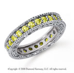 1 1/4 Carat Yellow Sapphire Platinum Filigree Prong Eternity Band