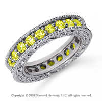 1 1/2 Carat Yellow Sapphire Platinum Filigree Prong Eternity Band