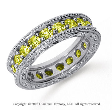 2 1/2 Carat Yellow Sapphire Platinum Filigree Prong Eternity Band