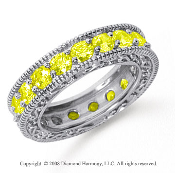 3 Carat Yellow Sapphire Platinum Filigree Prong Eternity Band