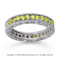 1 Carat Yellow Sapphire 14k White Gold Filigree Prong Eternity Band