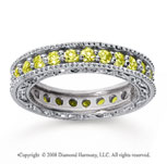 1 1/4 Carat Yellow Sapphire 14k White Gold Filigree Prong Eternity Band