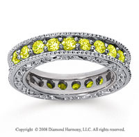 1 1/2 Carat Yellow Sapphire 14k White Gold Filigree Prong Eternity Band