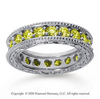 2 1/2 Carat Yellow Sapphire 14k White Gold Filigree Prong Eternity Band