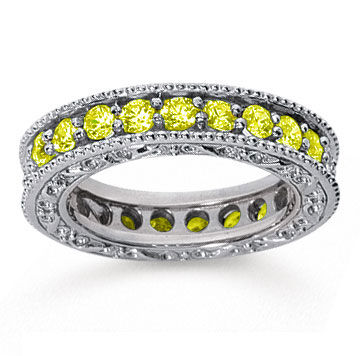 1 1/2 Carat Yellow Sapphire 18k White Gold Filigree Prong Eternity Band