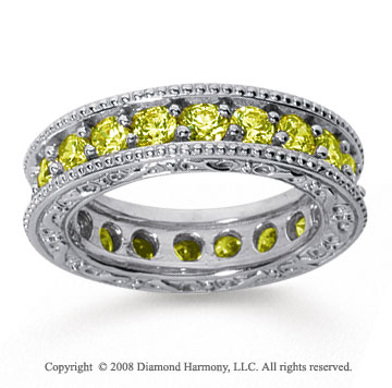 2 1/2 Carat Yellow Sapphire 18k White Gold Filigree Prong Eternity Band
