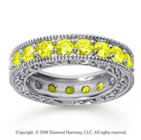 3 Carat Yellow Sapphire 18k White Gold Filigree Prong Eternity Band
