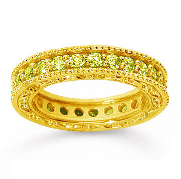 1 1/4 Carat Yellow Sapphire 14k Yellow Gold Filigree Prong Eternity Band