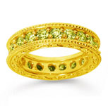 2 Carat Yellow Sapphire 14k Yellow Gold Filigree Prong Eternity Band