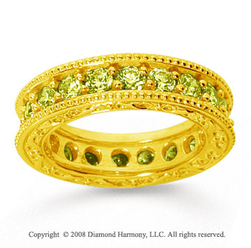 2 1/2 Carat Yellow Sapphire 14k Yellow Gold Filigree Prong Eternity Band