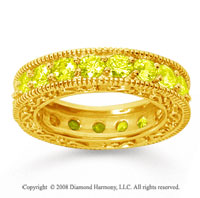 3 Carat Yellow Sapphire 14k Yellow Gold Filigree Prong Eternity Band