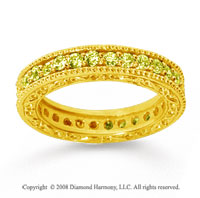 1 Carat Yellow Sapphire 18k Yellow Gold Filigree Prong Eternity Band