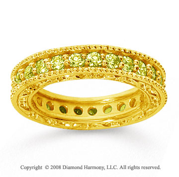 1 1/4 Carat Yellow Sapphire 18k Yellow Gold Filigree Prong Eternity Band