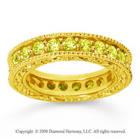 1 1/2 Carat Yellow Sapphire 18k Yellow Gold Filigree Prong Eternity Band
