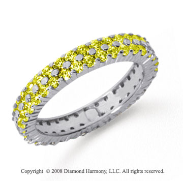 1 1/2 Carat Yellow Sapphire Platinum Double Row Eternity Band