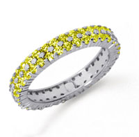 2 1/2 Carat Yellow Sapphire Platinum Double Row Eternity Band