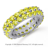 4 1/2 Carat Yellow Sapphire Platinum Double Row Eternity Band