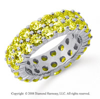 5 1/2 Carat Yellow Sapphire Platinum Double Row Eternity Band