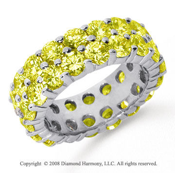 6 1/2 Carat Yellow Sapphire Platinum Double Row Eternity Band
