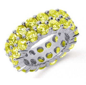 8 1/2 Carat Yellow Sapphire Platinum Double Row Eternity Band