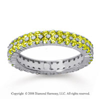 1 1/2 Carat Yellow Sapphire 14k White Gold Double Row Eternity Band