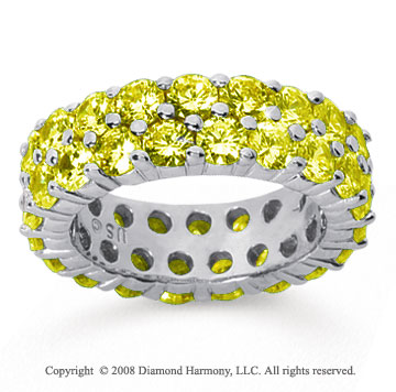 5 1/2 Carat Yellow Sapphire 14k White Gold Double Row Eternity Band