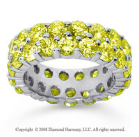 6 1/2 Carat Yellow Sapphire 14k White Gold Double Row Eternity Band