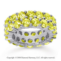 8 1/2 Carat Yellow Sapphire 14k White Gold Double Row Eternity Band