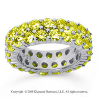 3 1/2 Carat Yellow Sapphire 18k White Gold Double Row Eternity Band