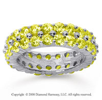 4 1/2 Carat Yellow Sapphire 18k White Gold Double Row Eternity Band
