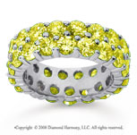 6 1/2 Carat Yellow Sapphire 18k White Gold Double Row Eternity Band
