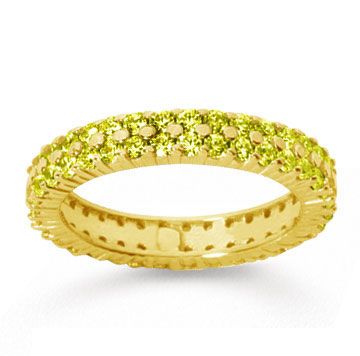 1 1/2 Carat Yellow Sapphire 14k Yellow Gold Double Row Eternity Band