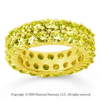 3 1/2 Carat Yellow Sapphire 14k Yellow Gold Double Row Eternity Band