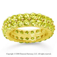 4 1/2 Carat Yellow Sapphire 14k Yellow Gold Double Row Eternity Band