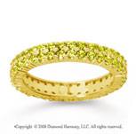 1 1/2 Carat Yellow Sapphire 18k Yellow Gold Double Row Eternity Band