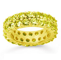 3 1/2 Carat Yellow Sapphire 18k Yellow Gold Double Row Eternity Band